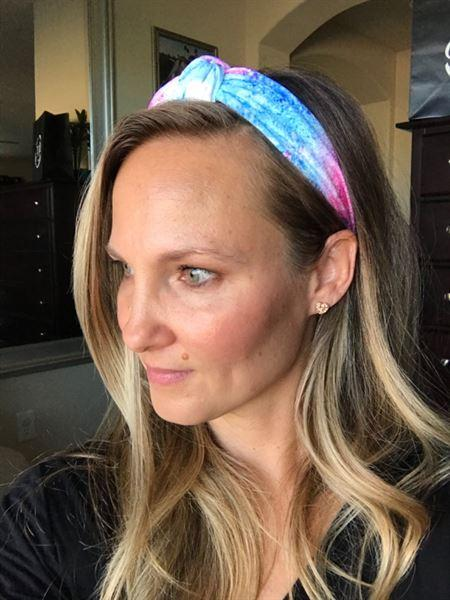 Closet Candy Boutique Holly Splatter Tie Dye Headband - Blue & Pink Review
