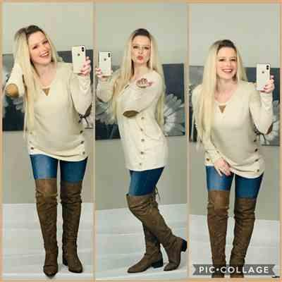 AmandaRae Bicknese verified customer review of Closer To You Tunic - Oatmeal