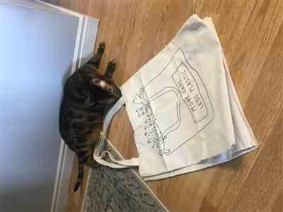 Serena Poulin verified customer review of More Cats Less Plastic - Natural Tote Bag
