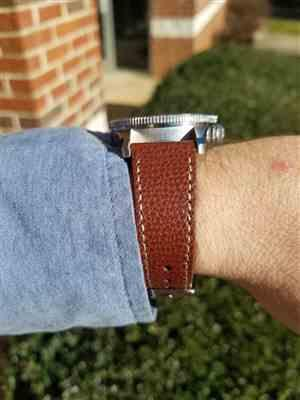 Mark verified customer review of Vintage Italian Leather Mahogany Brown Watch Strap with Quick Release