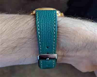 Tom verified customer review of Vintage Italian Leather Onyx Black Watch Strap with Quick Release