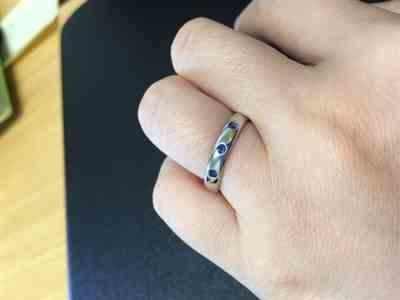Qian Song verified customer review of Narrow 3 Blue Sapphires Domed Wedding Ring, Contoured or Straight Band