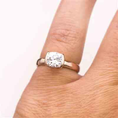 Lucene Olivera verified customer review of Cushion Moissanite Ring Modified Tension Solitaire Rose Gold Engagement Ring