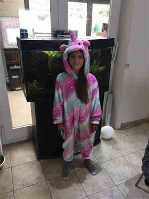 V***n verified customer review of Purple Dreamin' Unicorn Onesie - Flannel Zipper