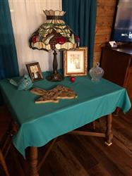 SHEILA G. verified customer review of 54 Turquoise Square Polyester Tablecloth