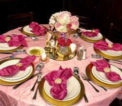 Deborah W. verified customer review of 120 Pink Pintuck Round Tablecloth