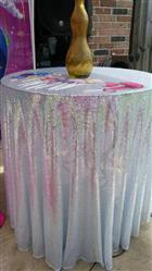 Dulce M. verified customer review of 108 Silver Premium Sequin Round Tablecloth