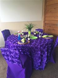 Mary G. verified customer review of 120 Purple Grandiose Rosette 3D Satin Round Tablecloth