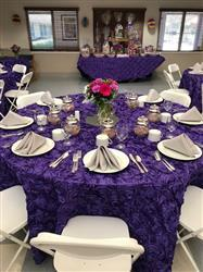Frank F. verified customer review of 132 Purple Grandiose Rosette 3D Satin Round Tablecloth