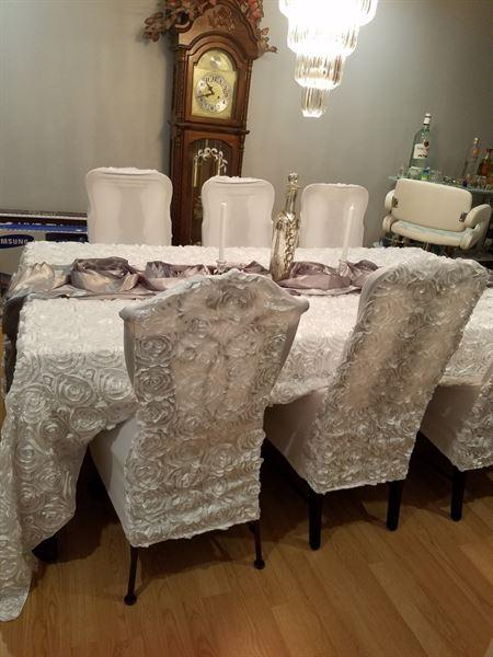 Cleo B. verified customer review of White Satin Rosette Stretch Banquet Spandex Chair Cover