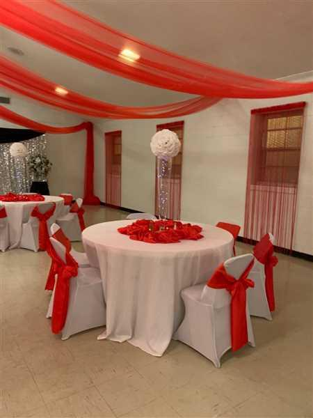 JOYCE DEW verified customer review of 8 Ft Long Red Silk String Tassels Backdrop Curtains for Party