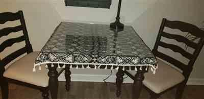 Judy Johnson verified customer review of Black Geometric Bohemian Pattern Tablecloth w/ Tassels