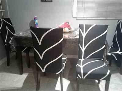 Melanie P. verified customer review of Black & White Abstract Stripe Dining Chair Cover