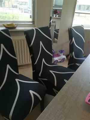 Natalie R. verified customer review of Black & White Abstract Stripe Dining Chair Cover