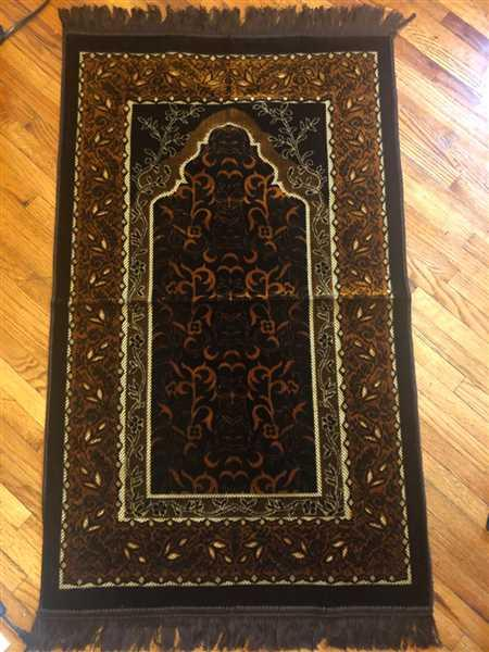 Modefa Velvet Wild Daisy Islamic Prayer Rug - Brown/Orange Review