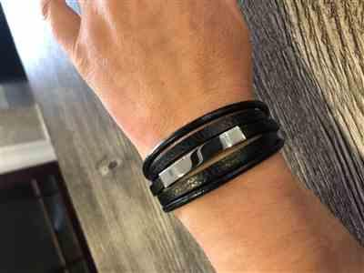 Justine M. verified customer review of Black Magnetic Leather Wrap Health Bracelet
