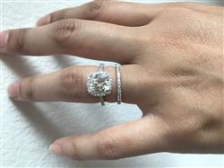 SH verified customer review of Cushion Brilliant Moissanite and Diamond Halo Bridal Wedding Rings Set 2 3/8 CTW 14k White Gold