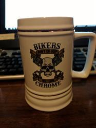 Hubert D. verified customer review of Bikers Don't Go Gray We Turn Chrome - Beer Stein