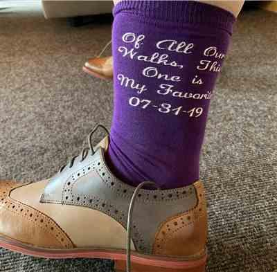 melissa w. verified customer review of Of All Our Walks This One Is My Favorite Wedding Socks - Father of the Bride Socks -PERSONALIZED