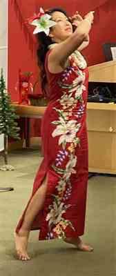 Sophia Lim verified customer review of Mega Orchid Red Long Tank Hawaiian Dress