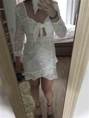 R***t verified customer review of Colette Embroidered Mini Dress White