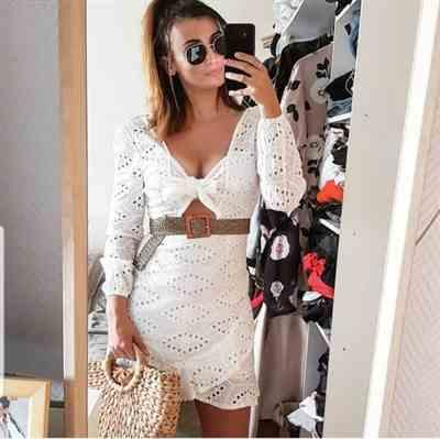L***r verified customer review of Colette Embroidered Mini Dress White