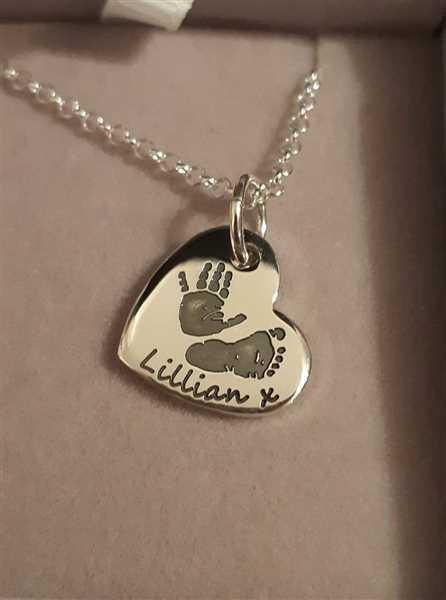 Claire Hutcheson verified customer review of Handprint Or Footprint Small Heart Necklace, Two Prints And One Name