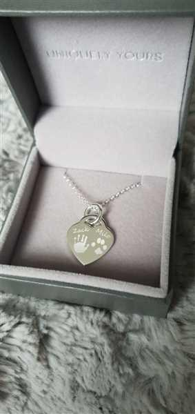 Mark Jenkins verified customer review of Engraved Handprint Or Footprint Heart Necklace, Two Prints And One Name