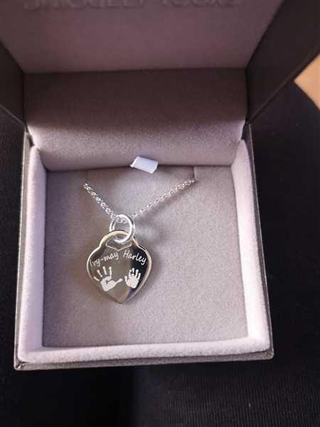Hand on Heart Jewellery  Engraved Handprint Or Footprint Heart Necklace, Two Prints And One Name Review