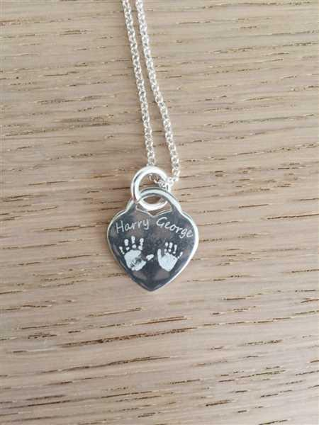 Leigh Spooner verified customer review of Engraved Handprint Or Footprint Heart Necklace, Two Prints And One Name