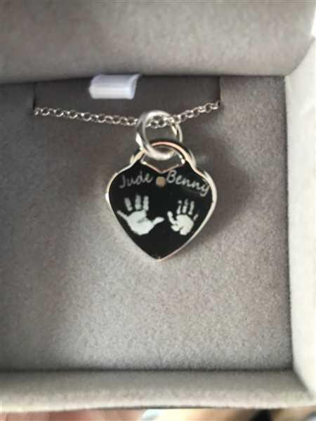 Donna Murphy  verified customer review of Engraved Handprint Or Footprint Heart Necklace, Two Prints And One Name