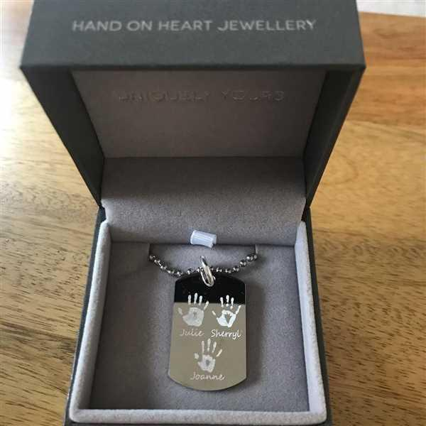 Emma Peak verified customer review of Engraved Handprint Or Footprint Dog Tag Necklace, Two Prints And Two Names