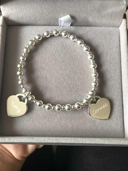 Tara Nice verified customer review of Handprint Or Footprint Silver Bead Bracelet, Three Charms