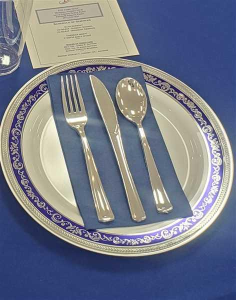 Antoinette P. verified customer review of White with Blue and Silver Royal Rim Plastic Dinnerware Value Set