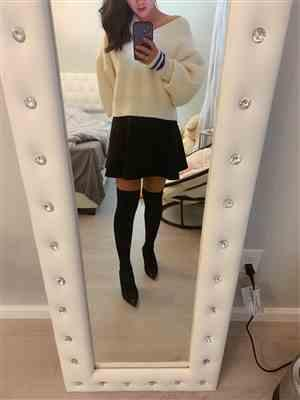 Kelly verified customer review of Varsity White Ribknit Sweater