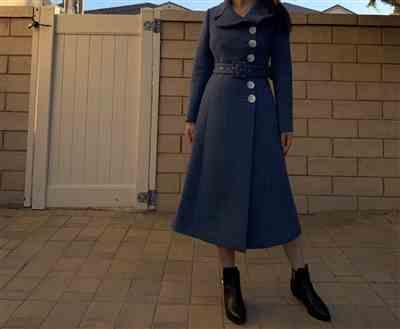 Albee Lei verified customer review of Jacklyn Blue Belted Reefer Coat