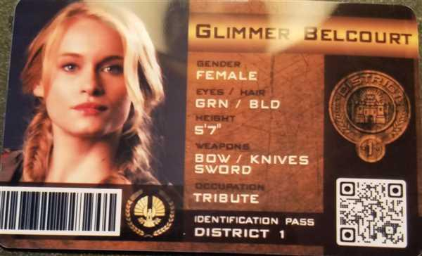 Candace Smith verified customer review of The Hunger Games Inspired Panem District 1 Identification Card - Glimmer Belcourt