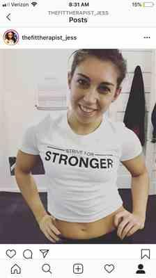 Jessica Velez verified customer review of WHITE STRIVE FOR STRONGER CROPPED TEE