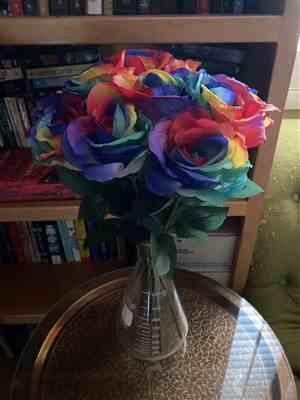 Racine Barton verified customer review of Artificial Rose Stem in Rainbow Colors - 20 Tall