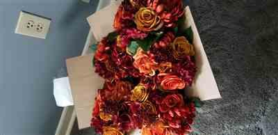 brittnii b. verified customer review of Fake Fall Flower Bouquet of Mum and Roses