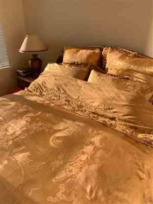 Gina Y. verified customer review of Stain Silk Jacquard Cotton Lace Bedding Set Luxury King Queen Size Bedsheet Set Duvet Cover Fit Sheet Parure De Lit Adulte