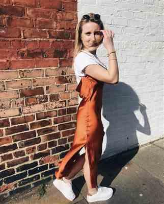 Emily Wade verified customer review of TOPSHOP RUST COWL BACK SATIN SLIP DRESS