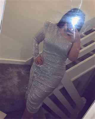 Shannon Smith  verified customer review of LAVISH ALICE POWER SHOULDER PLEATED SEQUIN MIDI DRESS