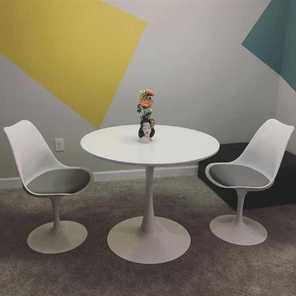 Annie Connelly verified customer review of Tulip 35.5 Wood Top Table & 2 Tulip Chairs With Grey Seat Cushions