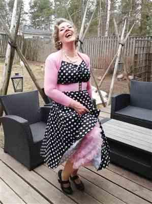Anu R. verified customer review of Dolores Doll Black Polka Dot 50-luvun mekko