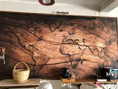Georgiana Barton verified customer review of 3D Worldmap Vintage Wood Grain Wallpaper Sticker