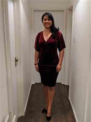 Donna verified customer review of Wine Red Velour Half Batwing Sleeve Crossover Top Wiggle Dress