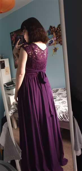 Mae Angel verified customer review of Jolie Moi Dark Purple Chiffon and Lace Bodice Maxi Cocktail Dress