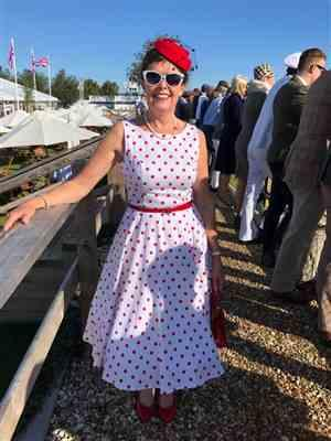 Caroline Walley verified customer review of White and Red Polka Dot 50s Audrey Swing Dress