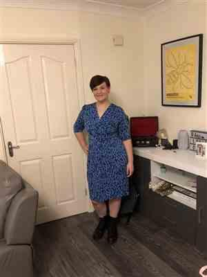 Pretty Kitty Fashion Jolie Moi Blue Leopard Print Half Sleeve Wrap Dress Review